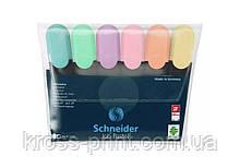Набор маркеров тестовыделителей SCHNEIDER JOB 1-4,5 мм, 6 пастельных цветов в блистере