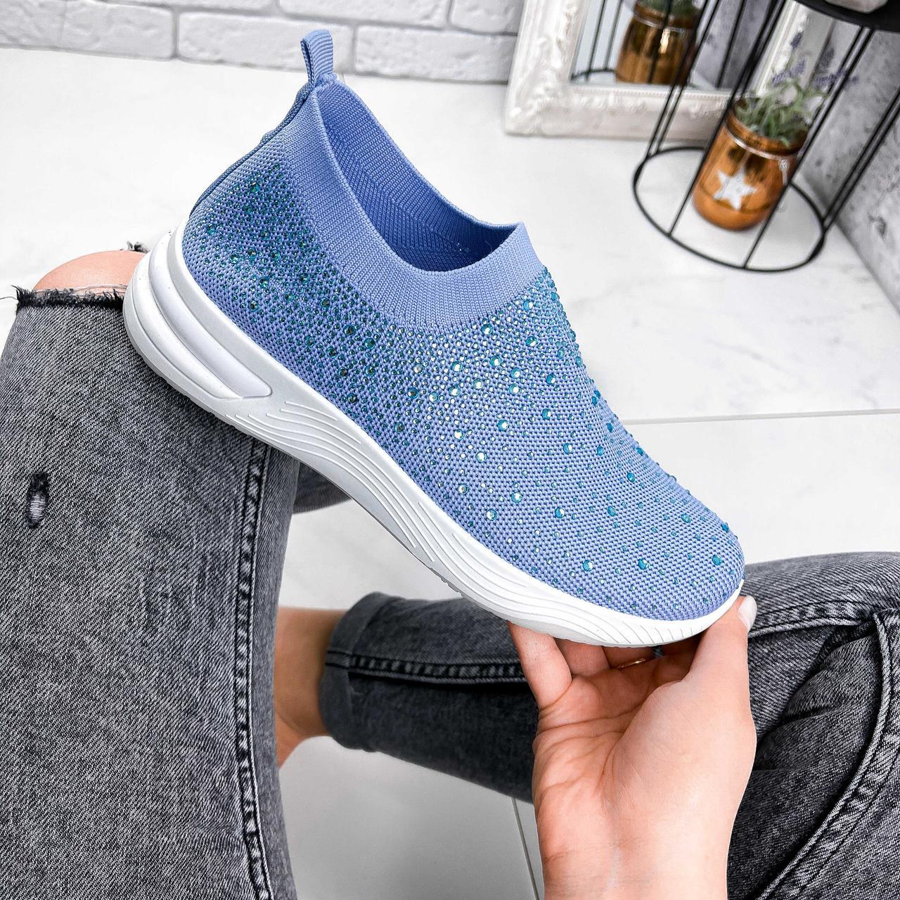 Кроссовки женские Diamond голубые из текстиля