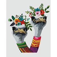 Картины по номерам Набор, техника акриловая живопись по номерам Страусы в венке, 35х45 см, ROSA N00013209