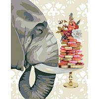 Картины по номерам Набор, техника акриловая живопись по номерам Слон с печеньем, 35х45 см, ROSA N00013213
