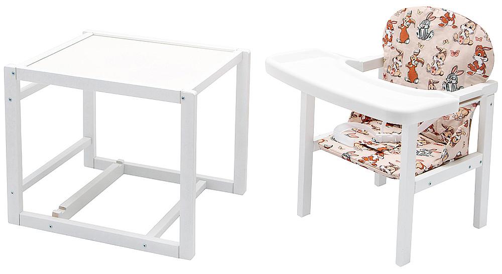 Стульчик- трансформер Babyroom Пони-240 белый пластиковая столешница  бежевый (зайчики)
