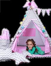 Вігвам дитячий, комплект Мрія, стьобаний килимок. Дитячий будиночок, ігровий курінь, вігвам дитячий, вігвам