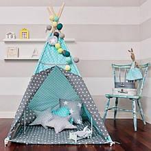 """Вігвам дитячий """"Зірки з подушками"""" стьобаний килимок. Дитячий вігвам, дитячий намет, вігвам дитячий, вігвам"""