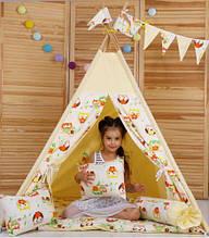 """Дитячий вігвам """"Бежеві Сови"""" з подушками, стьобаний килимок. Дитячий будиночок, дитячий намет, вігвам дитячий"""