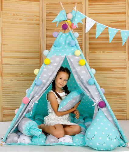 Вігвам дитячий, комплект Королівський м'ята з подушками, килимок БОНБОН. Ігровий курінь, дитячий намет, вігвам
