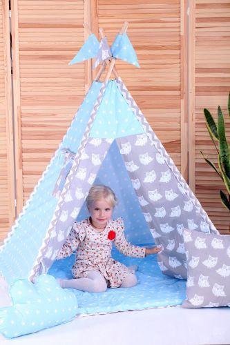 Вигвам детский, комплект Ноченька с подушками, стеганый коврик. Игровой шалаш, детская палатка, детский домик