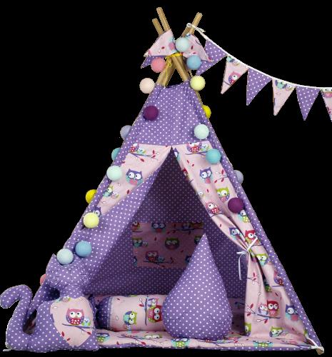 """Дитячий будиночок """"Фіолетові сови з подушкою"""", стьобаний килимок. Дитячий намет, ігровий курінь, вігвам дитячий"""
