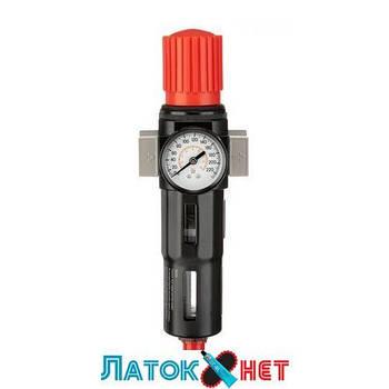 Фильтр для очистки воздуха с редуктором 3/4 5 мкм 2600 л/мин металл профессиональный PT-1417 Intertool