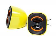 Акустическая система 2х3Вт  желтые, usb