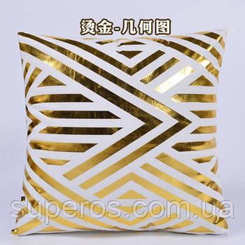 Декоративна подушка (наволочка) Колекція Золото на білому Дизайн 1