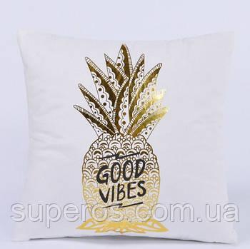Декоративна подушка (наволочка) Колекція Золото на білому Дизайн 2