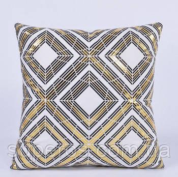 Декоративна подушка (наволочка) Колекція Золото на білому Дизайн 3