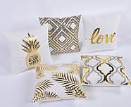 Декоративна подушка (наволочка) Колекція Золото на білому Дизайн 4, фото 2