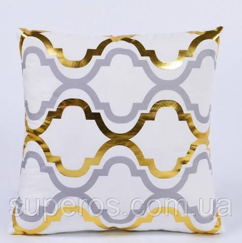 Декоративна подушка (наволочка) Колекція Золото на білому Дизайн 4