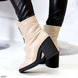 Бежевые женские ботинки из натуральной кожи на молнии на устойчивом каблуке, фото 6
