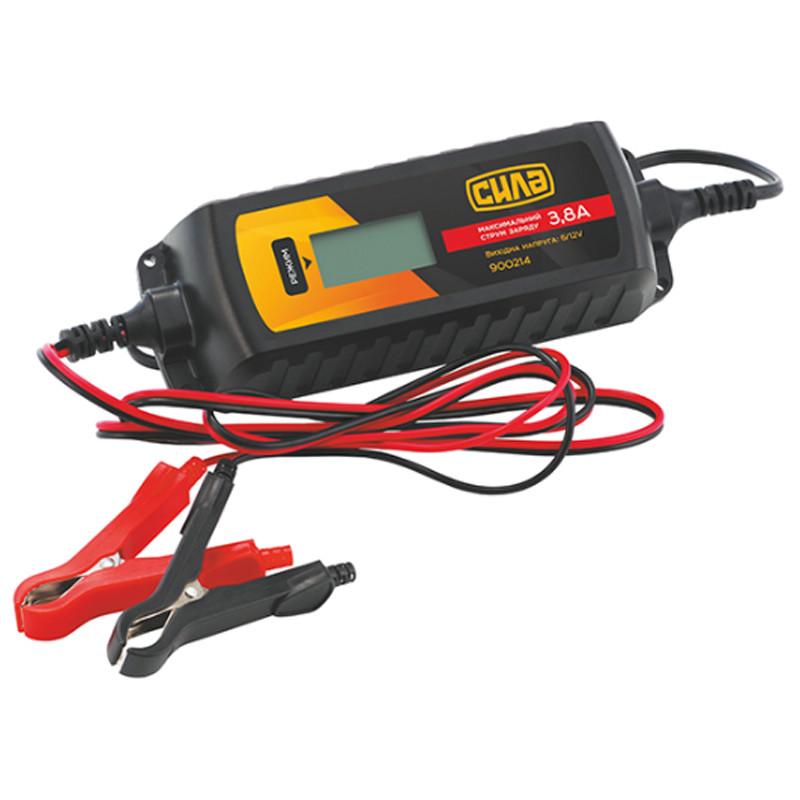 Зарядное устройство для авто 3,8А 6/12В (цифровое импульсное) | СИЛА 900214