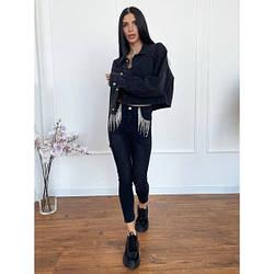 ✅ Стильные женские стрейч - джинсы скинни с бахромой из цепочек, модель по фигуре, с высокой посадкой L, черный