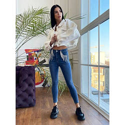 ✅ Стильные женские стрейч - джинсы скинни с бахромой из цепочек, модель по фигуре, с высокой посадкой S, синий