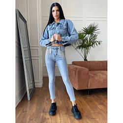 ✅ Стильные женские стрейч - джинсы скинни с бахромой из цепочек, модель по фигуре, с высокой посадкой M, голубой