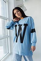 Свитшот оверсайз с буквой W ADVES - голубой цвет, L/XL (есть размеры)