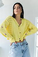 Укороченный кардиган с цветочною вышивкою SOBE - желтый цвет, L (есть размеры), фото 1