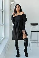 Платья в горошек с завышенной талией LUREX - черный цвет, S (есть размеры)