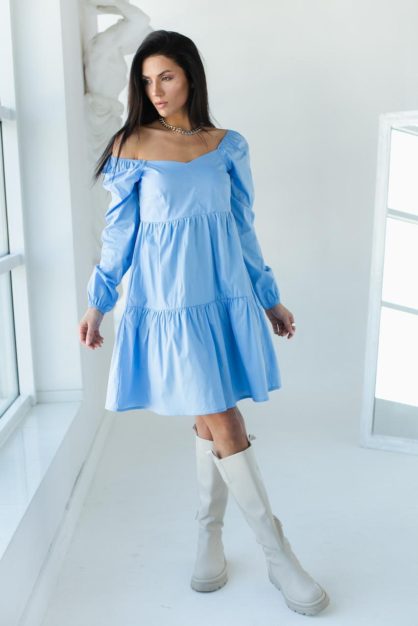 Однотонне плаття з фігурним вирізом і довгими рукавами LUREX - блакитний колір, M (є розміри)