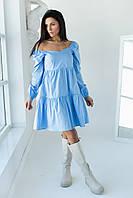 Однотонне плаття з фігурним вирізом і довгими рукавами LUREX - блакитний колір, M (є розміри), фото 1