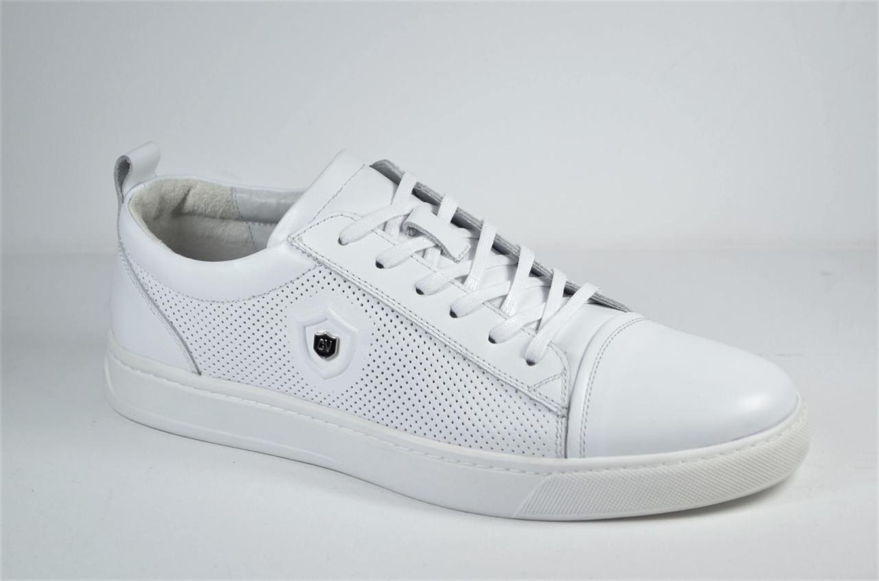 Чоловічі спортивні туфлі шкіряні кеди білі Cevivo 5203