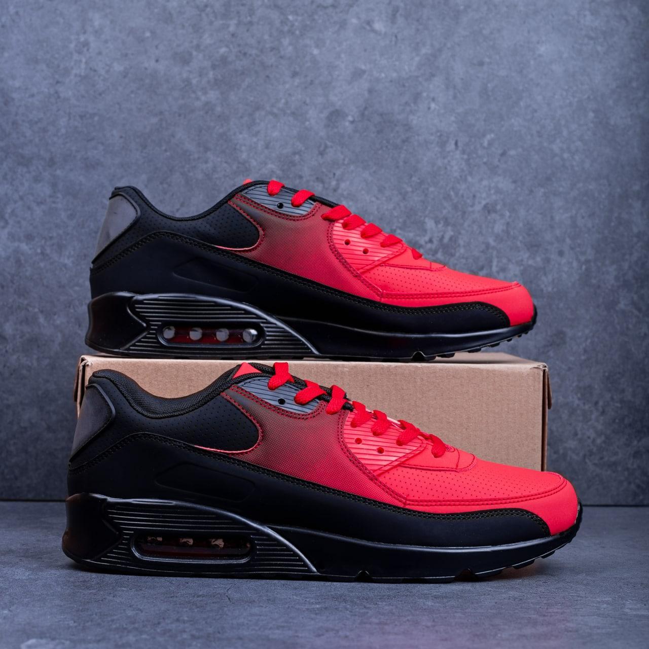 Кроссовки Ривал 90 Чорно Червоні ( чорна підошва)