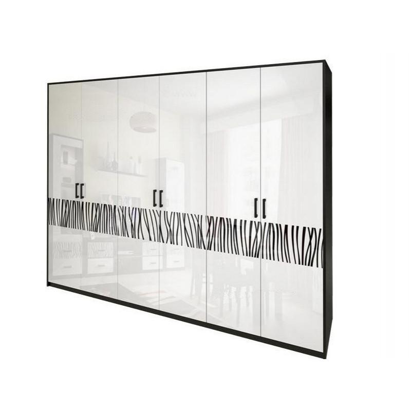 Шкаф распашной в спальню, в прихожую Терра 6Д TR-26-WB MiroMark белый/черный (без зеркал)