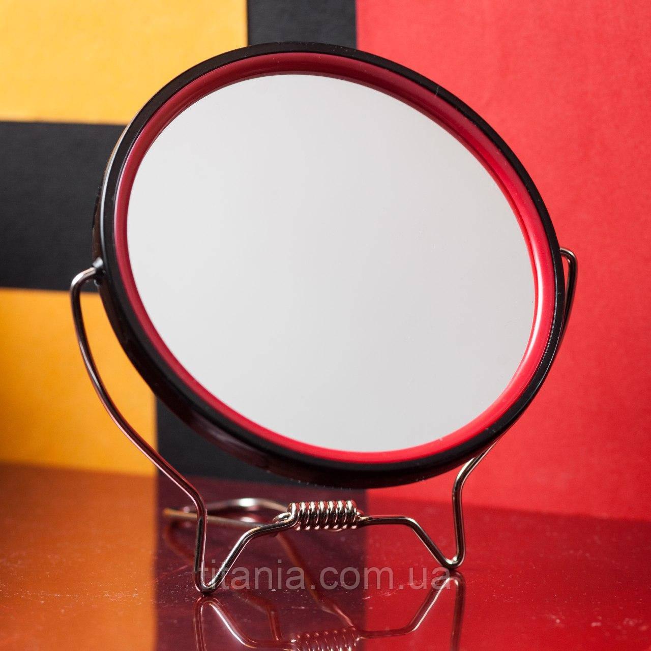 Зеркало косметическое круглое для бритья двустороннее с увеличением х2 на подставке TITANIA art.1500/MEN