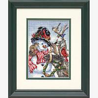 """Набір для вишивання хрестом """"Сніговик та олень//Snowman & Reindeer"""" DIMENSIONS 08824"""
