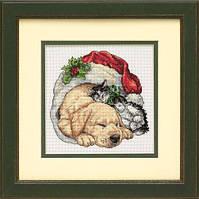 """Набір для вишивання хрестом """"Домашні тварини різдвяним ранком//Christmas Morning Pets"""" DIMENSIONS 08826"""