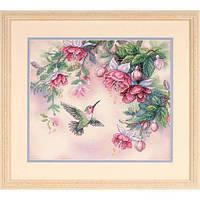 "Набор для вышивания крестом ""Колибри и Фуксии//Hummingbird & Fuchsias"" DIMENSIONS 13139"