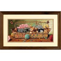 """Набір для вишивання хрестом """"Кошенята в кошику//Kitty Litter"""" DIMENSIONS 35184"""