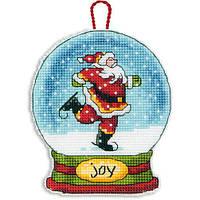 """Набір для вишивання хрестом """"Прикраса Снігова куля Радість //Joy Snow Globe Ornament"""" DIMENSIONS 70-08905"""