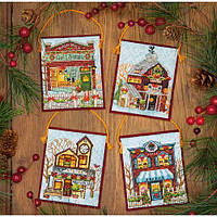 """Набір для вишивання хрестом """"Прикраси Зимова село//Winter Village Ornaments"""" DIMENSIONS 70-08954"""