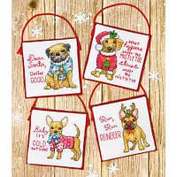 """Набір для вишивання хрестом """"Рождевственские щенята//Christmas Pups Ornaments"""" DIMENSIONS 70-08972"""