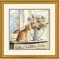"""Набір для вишивання хрестом """"Кошеня у вікні//Kitten in the Window"""" DIMENSIONS 70-35359"""