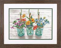 """Набір для вишивання хрестом """"Квітучі банки//Flowering Jars"""" DIMENSIONS 70-35378"""