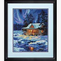 """Набір для вишивання гобеленом """"Зимова хатина//Winter Sky Cabin"""" DIMENSIONS 71-20072"""