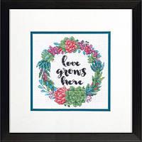 """Набір для вишивання хрестом """"Succulent Wreath//Соковитий вінок"""" DIMENSIONS 70-65196"""