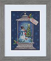 """Набір для вишивання хрестом """"Snowman Lantern//Ліхтар зі сніговиком"""" DIMENSIONS 70-08987"""
