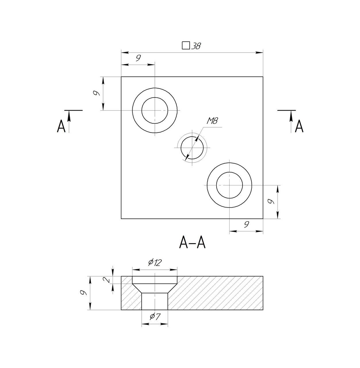 ODF-06-29-21-L10 Дистанция 10 мм для квадратного коннектора 38*38 под дерево, черный