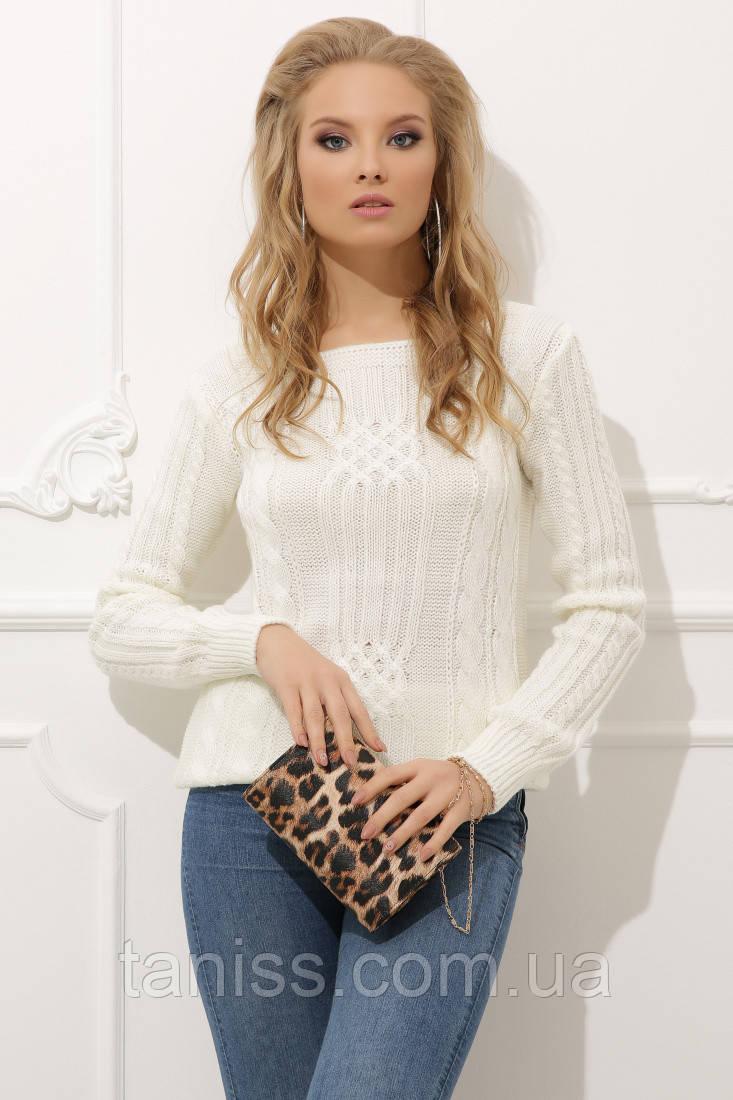 Женский вязанный свитер ,состав 50% шерсть, 50% акрил.,размер один 44-48. молочный