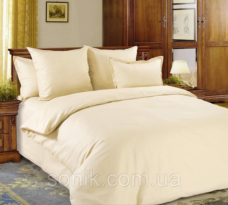 Комплект постельного белья страйп сатин айвори 1*1