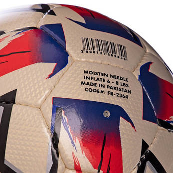 М'яч футбольний 5 розмір CRYSTAL BALLONSTAR біло-чорно-червоний FB-2364, фото 2