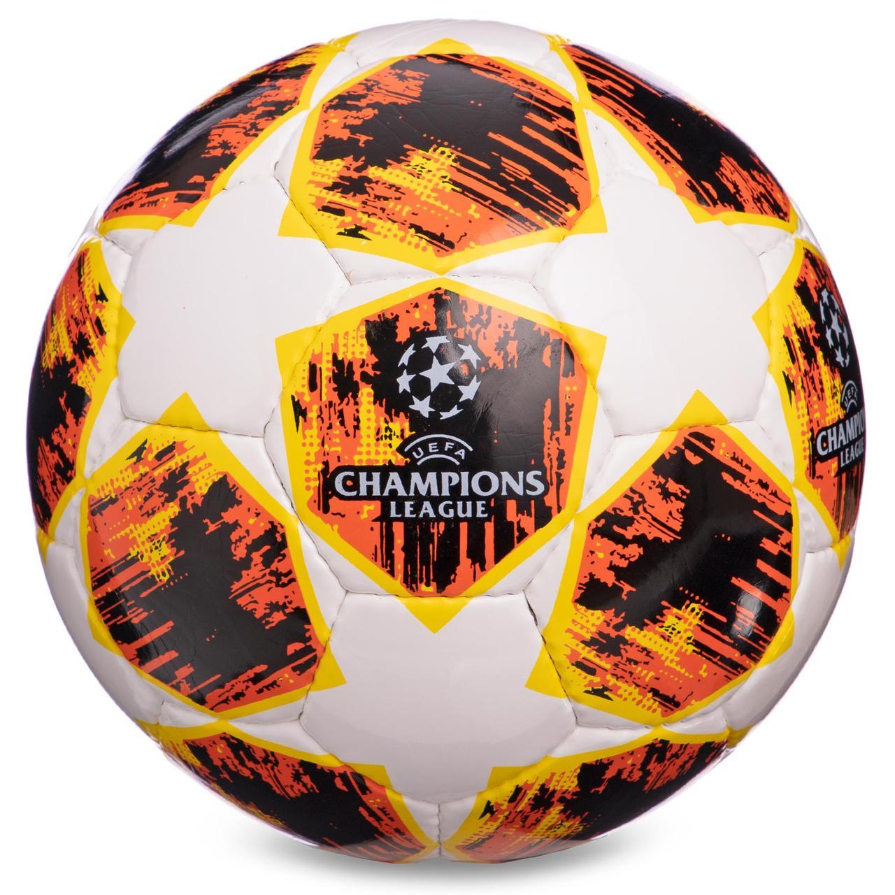Футбольний м'яч розмір 4 PU CHAMPIONS LEAGUE біло-помаранчевий FB-0152-2
