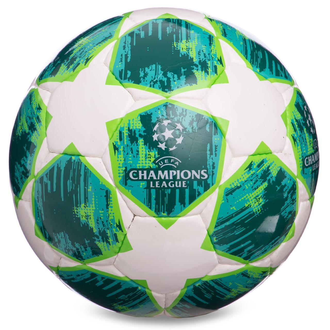М'яч для футболу розмір 4 PU ламінований CHAMPIONS LEAGUE біло-зелений FB-0152-1